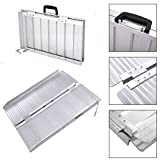 24'' Folding Portable Aluminum Threshold Mobility Loading Wheelchair Ramp Threshold Ramp Handicap w/ Handle