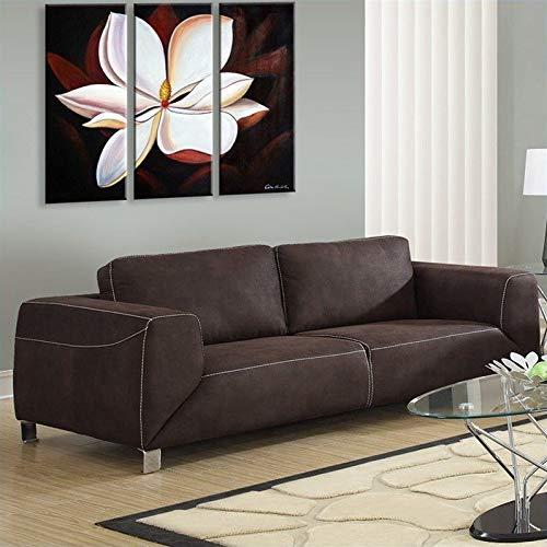Monarch Specialties Chocolate Brown/Tan Contrast Micro-Suede Sofa ()