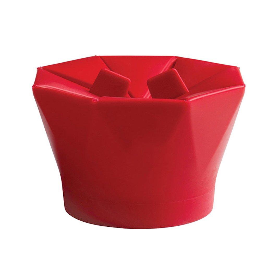 M-Egal Silicone Microwave Popcorn Maker Popcorn Popper Homemade Delicious Popcorn Bowl Red 17-17.9cm
