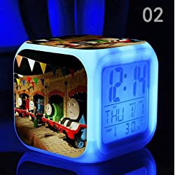 The Thomas Train and His Lovely Friends Digital Alarm Desktop Clock with 7 Changing LED Clock Cute Gift for Kids (Style 2)