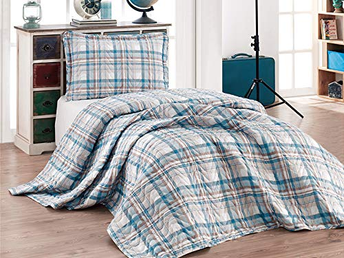 Clasy Bedspreads Collection%100 Cotton Unique Design No Iron Required Double Sided (Twin Size 2 Piece - Queen Size 3 Piece) Same Day Shipping (ALFA, Single Size 2 Pieces)
