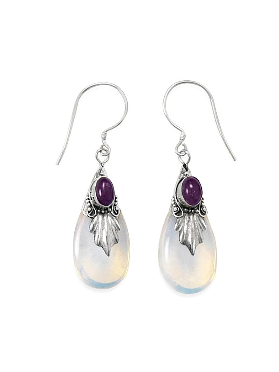 Amethyst and Blue Sea Opal Glass Drop Leaf Sterling Silver Earrings