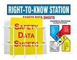 Accuform ZRS347 RIGHT-TO-KNOW STATION, 18'' Length x 24'' Width x 0.063'' Thick Aluminum Board with Coated Wire Basket, 1-1/2'' Safety Data Sheets 3-Ring Binder Included