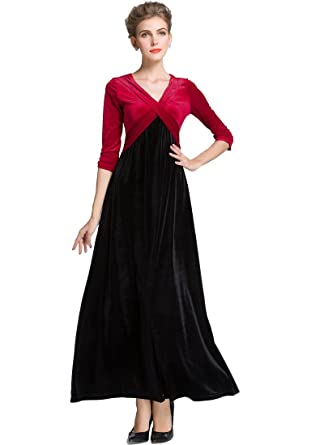 Amazon Medeshe Ladies Velvet Christmas Party Prom Maxi Dress