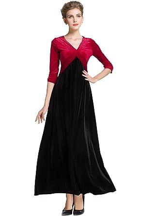 Medeshe Womens Emerald Green Christmas Long Velvet Maxi Dress 4 6 Red