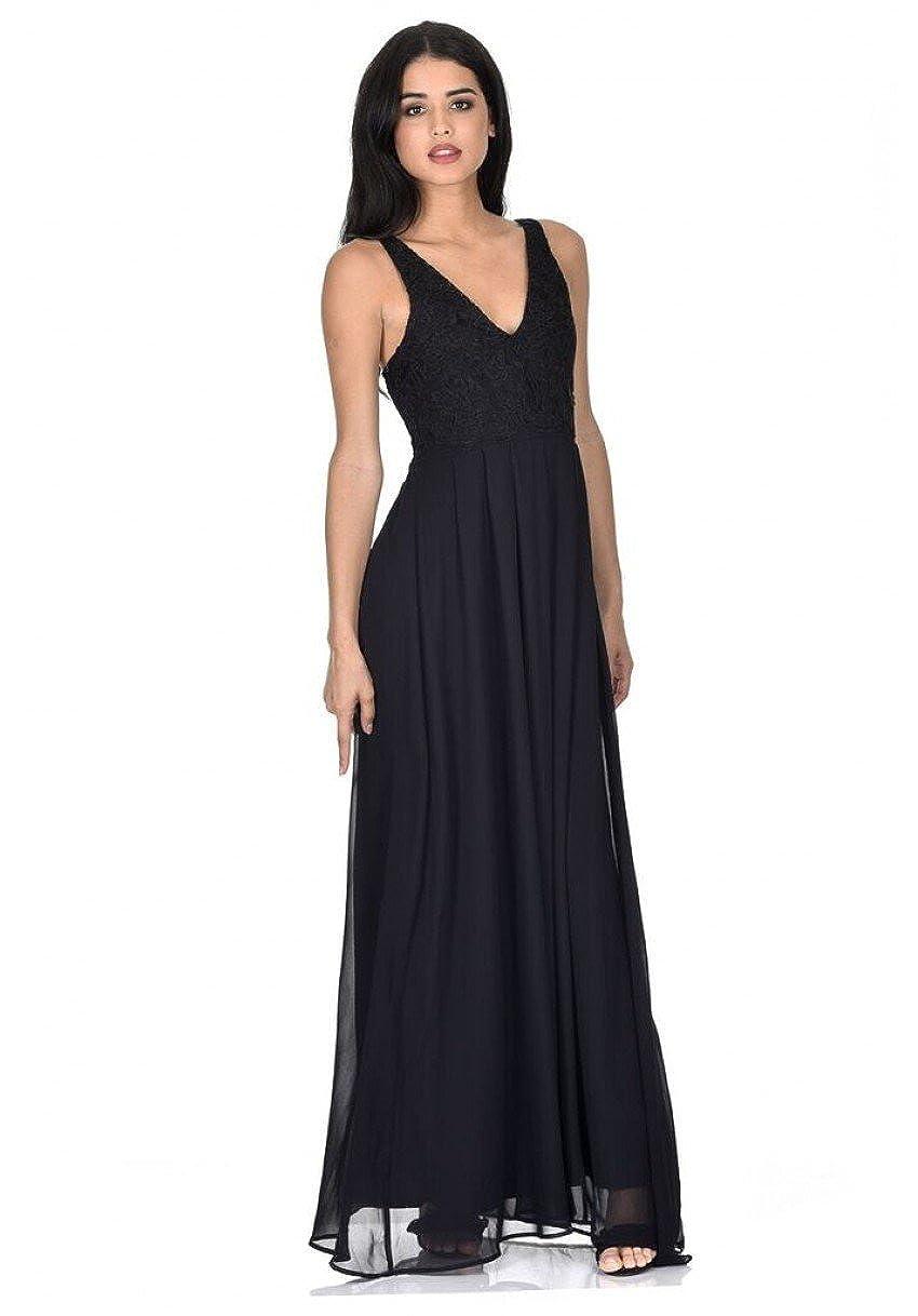 AX Paris Women's V Front Lace Top Maxi Dress D253