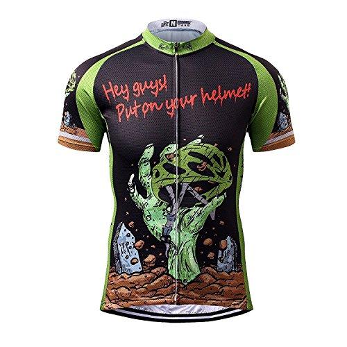 Thriller Rider Sports Mens Hey Guys Put on Your Helmet Mountain Bike Short Sleeve Cycling Jersey Bike Tshirt Large
