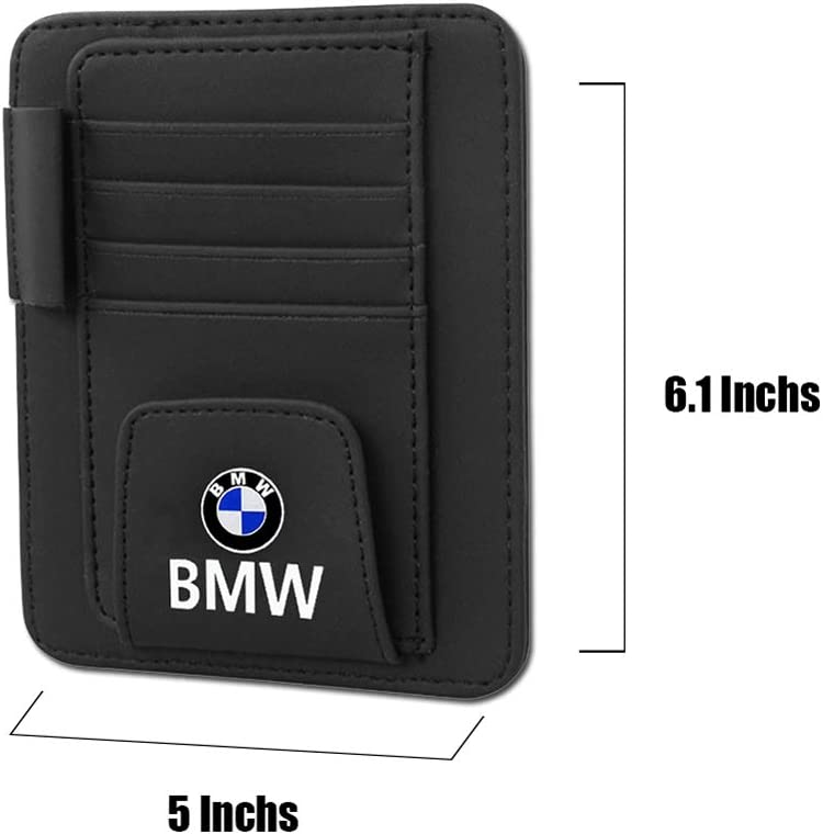 MASHA Compatible BMW Leather Glasses Holders for Car Sun Visor,Eye Glasses Storage Box,Sunglasses Eyeglasses Mount with Ticket Card Clip for All BMW Auto Interior Accessories