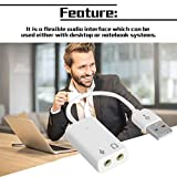 Professional Notebook USB 7.1 Channel External Sound Card Adapter With Independent External Sound Card White