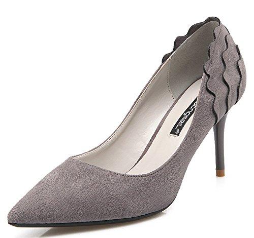 IDIFU Womens Elegant Faux Suede Closed Pointed Toe High Stiletto Heels Pumps Gray