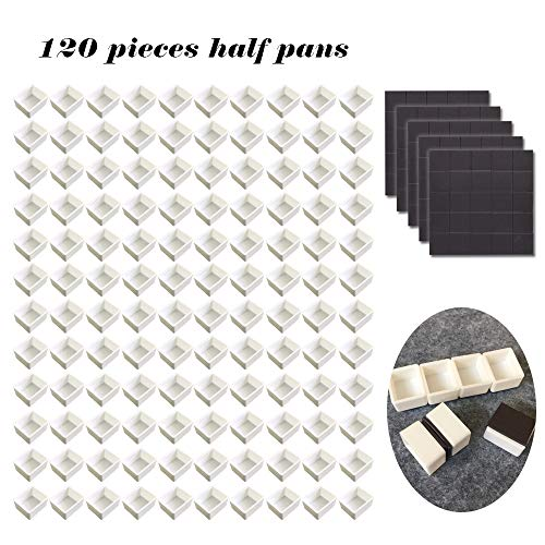 120pcs Empty Half Pans Plastic Paint Kits with Magnetic Square for Watercolor Oils Or Acrylics Paint Travel Tin Case DIY Watercolor Palette Art -