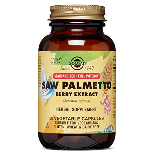 Solgar Standardized Full Potency Saw Palmetto Berry Extract Vegetable Capsules, 60 Count