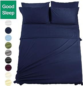 EASELAND 6-Pieces Queen Size Bed Sheets Set 1800 Series Microfiber-Wrinkle & Fade Resistant,Deep Pocket,Hypoallergenic Bedding Set,Queen,Navy