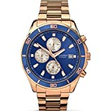 Sekonda Gents Rose Gold Plated Stainless Steel Bracelet Watch Blue Chronograph Dial 1141