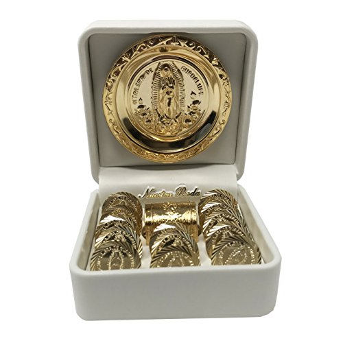 Wedding Arras (13 pcs) with a Miniature Chest Box, an Our Lady of Guadalupe Medallion and a White Case. Golden - Plated Wedding Unity Coins. Arras de Boda. by Virgen Morena