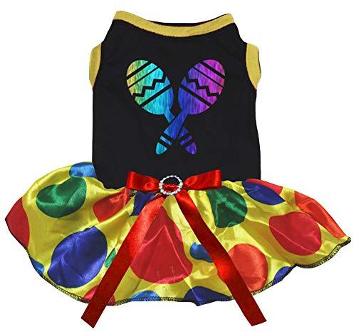 Petitebella Rainbow Maracas Cotton Shirt Tutu Puppy Dog Dress (Black/Rainbow Dots, Small)]()