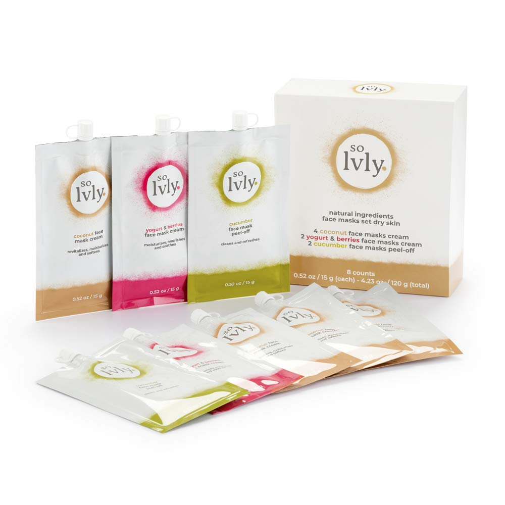 so lvly Skin Care Facial Mask Revitalize, Cucumber, 8 Count