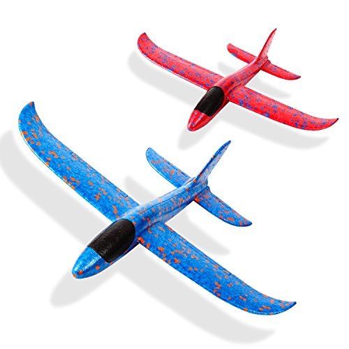 kizh Throwing Foam Airplane Toys 13.5 Inches Flying Glider Inertia Plane Manual Circling Functions Flying Aircraft Fun Best Outdoor Fun for Kids Children Boys Girls 2pcs ()