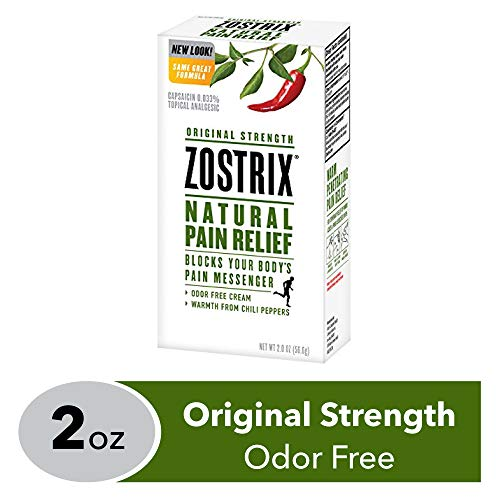 Zostrix Original Strength Pain Relief Topical Analgesic Cream, Capsaicin Pain Reliever, Odor Free, 2 Ounce Tube