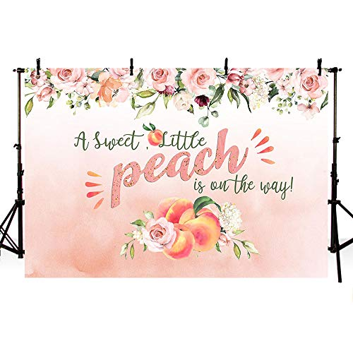 MEHOFOTO Sweet A Little Peach is On The Way Princess Girl Baby Shower Party Photo Background Banner Spring Pink Floral Greenery Backdrops for Photography 7x5ft