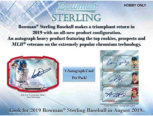 2019 Bowman Baseball Card - 2019 Bowman Sterling Baseball Hobby Box (5 Packs/6 Cards: 5 Autographs)
