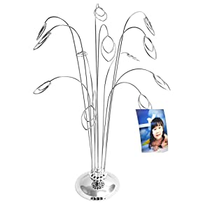 HOHIYA Family Tree Picture Frame Holder Money Photo Christmas Wedding Card Display Stand Birthday Party Gift (Silver,Pack of 1)