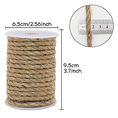 Vivifying 33 Feet 6mm Jute Rope, Natural Heavy Duty Twine for Crafts, Cat Scratch Post, Bundling (Brown) : Office Products