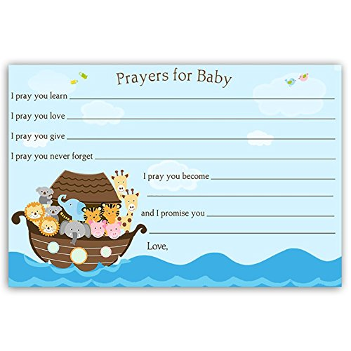Noahs Ark Card Game - Baby Shower Prayers For Baby Cards Noah's Ark Blue Brown Religious Sprinkle Miracle On The Way Girl Boy Prayers Hopes Wishes Dear Baby Hello Baby Biblical Bible (24 count)