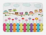 owl bath mat Ambesonne Owls Bath Mat, Owls on a Branch Sunny Day in Countryside Farmhouse Fences Wildflowers Holidays Art, Plush Bathroom Decor Mat with Non Slip Backing, 29.5 W X 17.5 L Inches, Multicolor