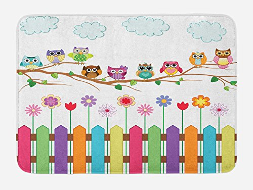 Ambesonne Owls Bath Mat, Owls on a Branch Sunny Day in Countryside Farmhouse Fences Wildflowers Holidays Art, Plush Bathroom Decor Mat with Non Slip Backing, 29.5 W X 17.5 L Inches, Multicolor