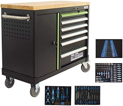 Werkstattwagen DELUXE 6 Schubladen + Tür bestückt Werkzeugwagen 130 tlg. Assistent   Arbeitsfläche 108x46,5cm Massivholz Gummibaum