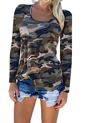 Femmes XXL Shirts Shirt Chemisier Dames Deep norme Chemises vider Vert1 Sexy V Tops S Blouse Longue Manche Camouflage axHq4Un