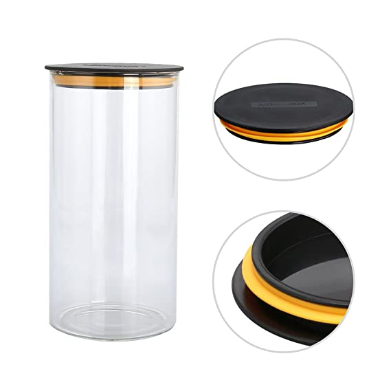 Jarra de cristal para almacenamiento hermético, vidrio cristal de borosilicato, transparente, PP Lid/750ml: Amazon.es: Hogar