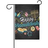 Staroind Hand Drawn Hanukkah Garden Flag Yard Banner Polyester for Home Flower Pot Outdoor Decor 12X18 Inch