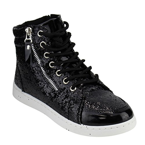 Sneakers Booties Link Trainer Forever Womens Top Glitter Black Fashion Up Hi Ankle Lace Fitness BwqSg