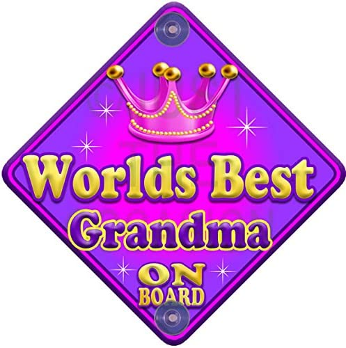 Allure Worlds Best Grandma Pink Baby on Board Novelty Car Window Sign
