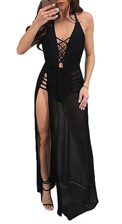 21a30b12f3c Womens Sexy Sleeveless Halter Neck Night Club Wear Split Maxi Romper Dress  Black S