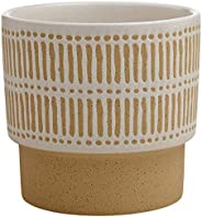 Amazon Brand – Stone & Beam Emerick Rustic Stoneware Planter Pot - 6 Inch, Brown and W