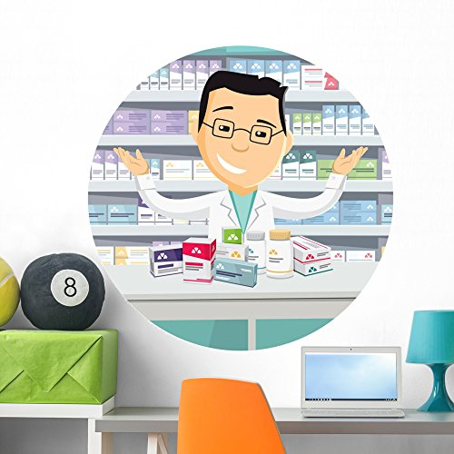 Wallmonkeys Pharmacist Chemist Man Pharmacy Wall Decal Peel and Stick Graphic (36 in H x 36 in W) WM359183 - Apothecary Shop Pharmacy