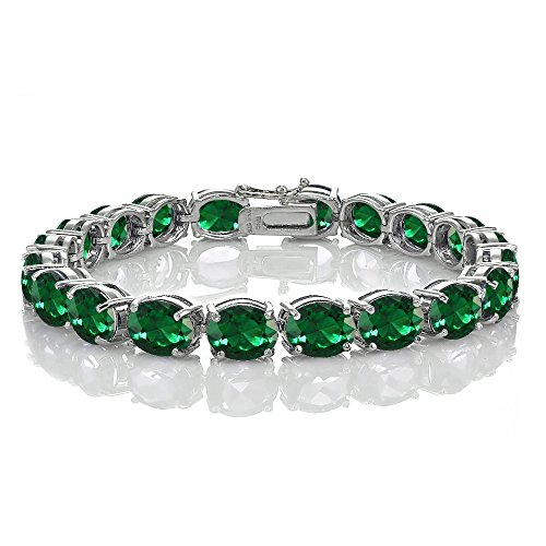 - Ice Gems Sterling Silver Created Emerald 9x7mm Oval Tennis Bracelet