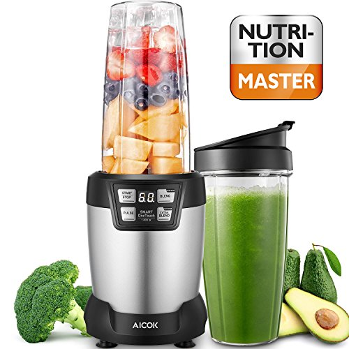 Aicok Smoothie Blender, Personal Blender Single Serve with LED Smart One Touch, Two Large Tritan Travel Cups(35oz and 28oz), 1200Watt, High Speed Professional Blender, Silver