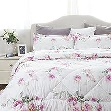"King Size(102""x90"") Comforter Set Floral Pattern Design Down Alternative 3 Pieces( 1 Comforter + 2 Pillowcases) by Bedsure"
