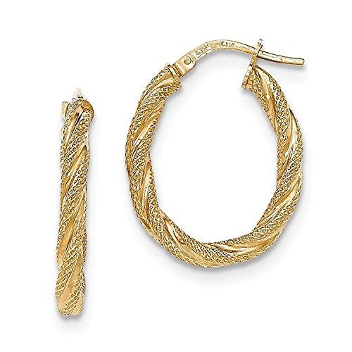Twisted Mesh Oval Hoop Earrings (Mesh Yellow Earrings)