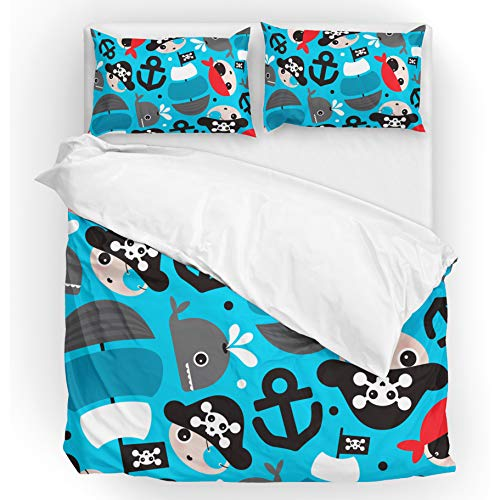 U LIFE Bedding Duvet Cover Set Full Size 3 Piece Set 1 Quilt Cover and 2 Pillow Cases Shams Pirate Cute Ocean Sea Blue Anchor Whale for Kid Boy Girl Women Men -