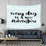 smallbeefly Adventure Customed Widened Tapestry Every Day is a New Adventure Quote Inspirational Things About Life Artwork Wall Hanging Tapestry 90''x60'' Baby Blue Black