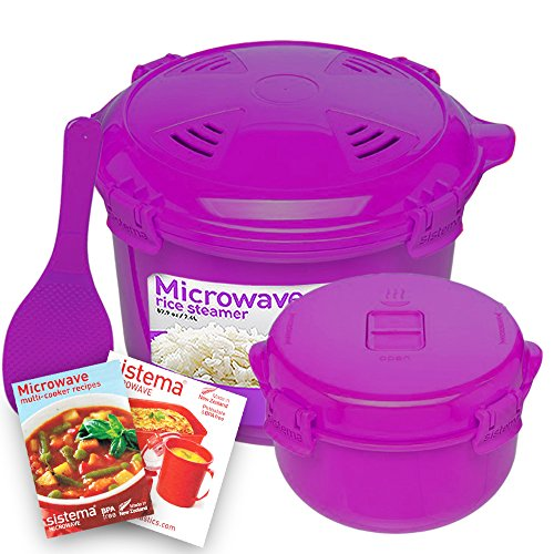 Cheap Sistema Microwave Cookware Rice Steamer Set with Lids — Large Microwave Multicooker, Side Dish Bowl, Spoon and Recipes (BPA Free, 100% Food Safe) (Purple Set)