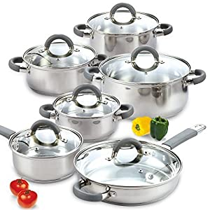 Cook N Home 02410 12 Piece Stainless Steel Cookware Set, Silver by Cook N Home