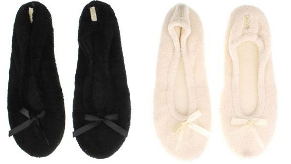 Gold Toe Womens Plush 2 PACK Ballerina Ballet Flats Slippers Shoes (8, Black/Ivory GTW40049) by Gold Toe