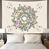 Ice jazz Bright Flower Tapestry Wall Hanging Watercolor Wreath Romantic Floral Tapestry Bedroom Living Room Dorm 59''X51''