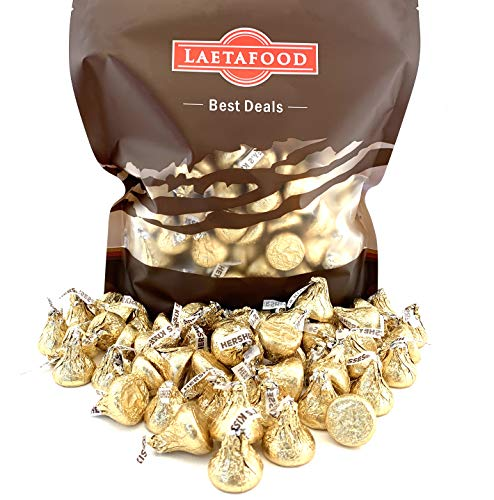 LaetaFood Bag - Hershey Kisses Gold Foil Wrapping, Creamy Milk Chocolate 2 Pounds Bulk Pack ()